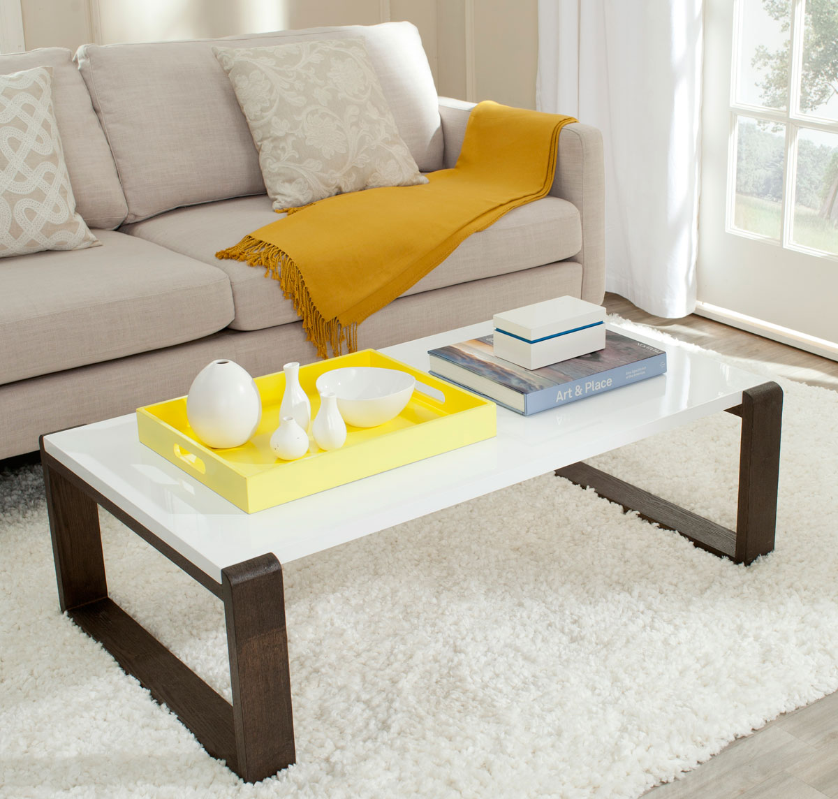 BARTHOLOMEW MID CENTURY SCANDINAVIAN LACQUER COFFEE TABLE FOX4210A COFFEE  TABLES. Color: White U0026 Dark Brown