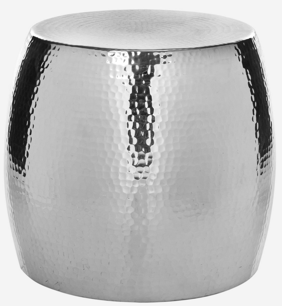ODIN ROUND HAMMERED STOOL FOX5504A ACCENT TABLES. Color: Silver