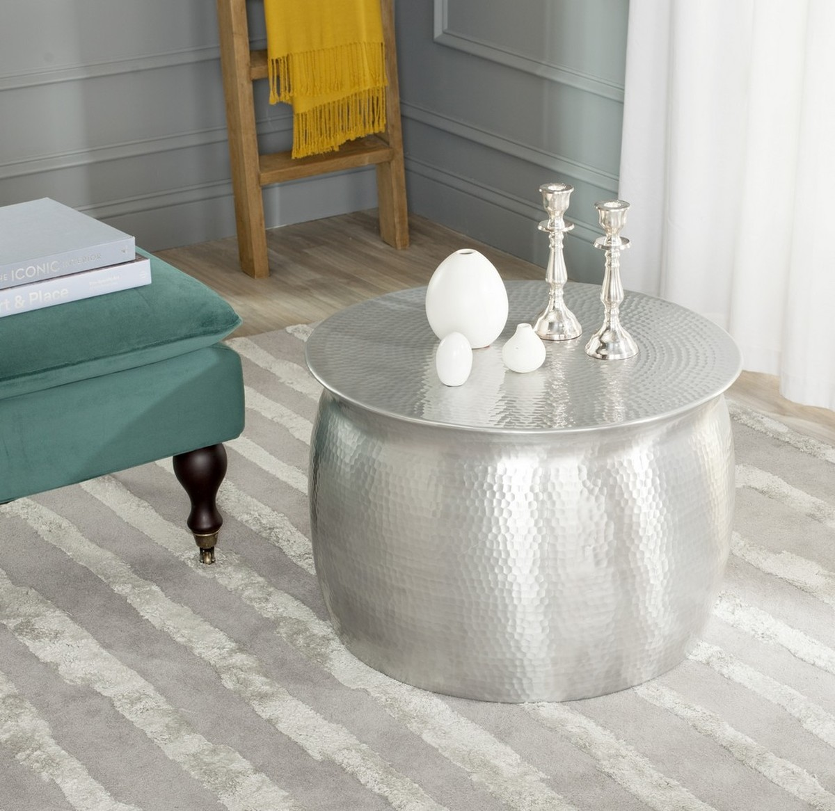 AZTEC METAL TABLE STOOL FOX5516A ACCENT TABLES. Color: Silver