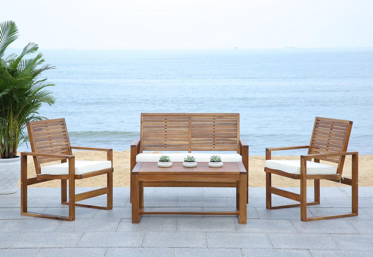 FOX6007A Patio Sets - 4 Piece - Furniture by Safavieh on Safavieh Alda 4Pc Outdoor Set id=21544