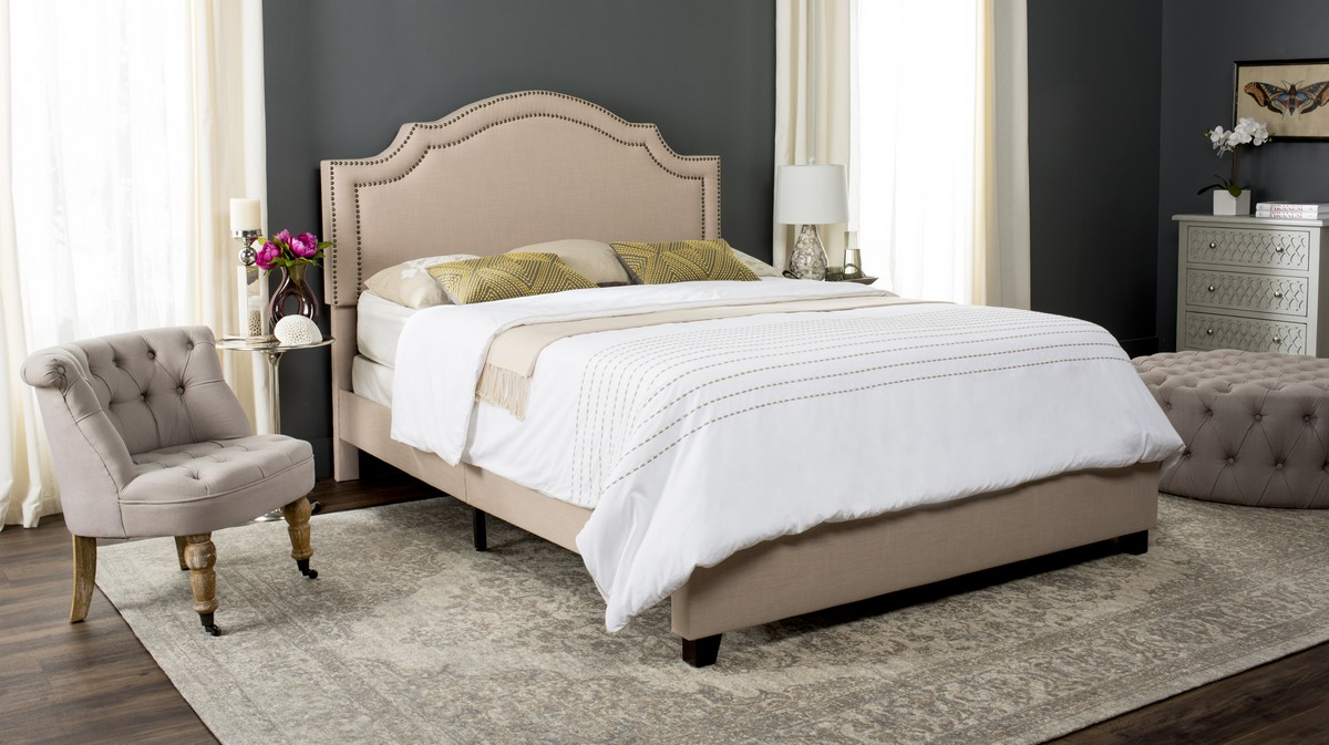 THERON BED FOX6211A BEDS. Color: Light Beige