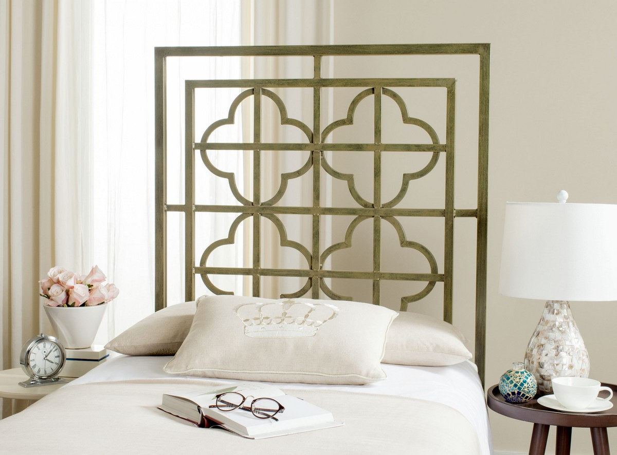 Lucinda French Silver Metal Headboard Headboards