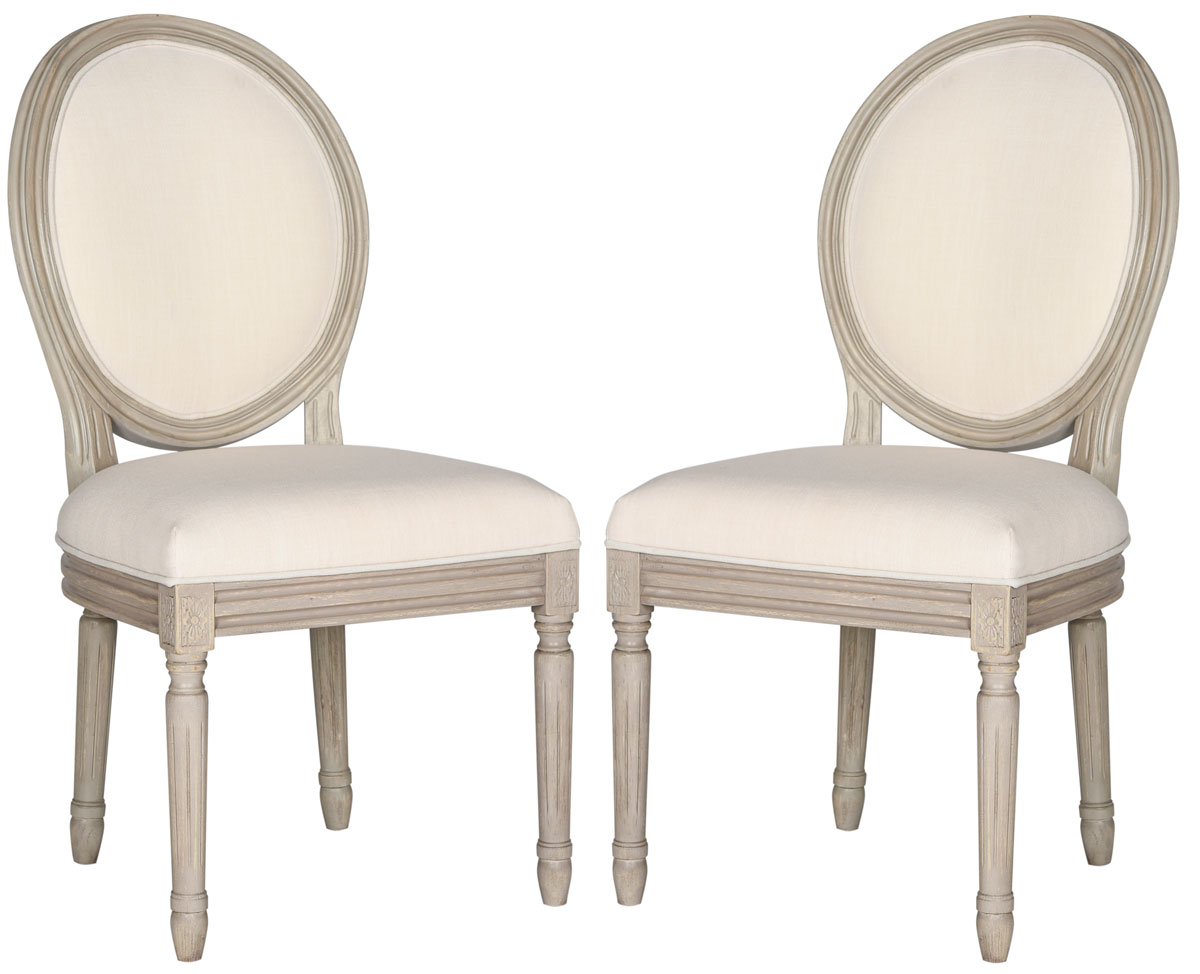 HOLLOWAY 19u0027u0027H FRENCH BRASSERIE LINEN OVAL SIDE CHAIR FOX6228H SET2 DINING  CHAIRS