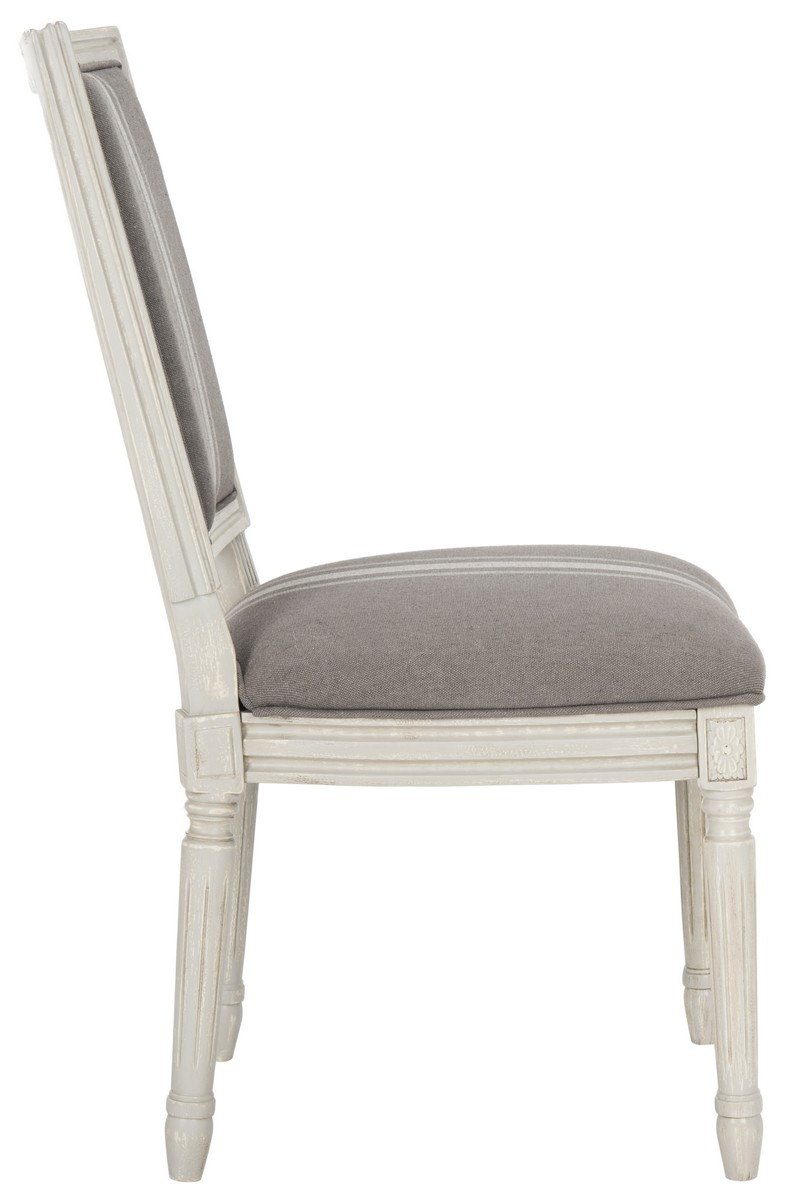 Old World Elegance Meets Modern Day Comfort In This Set Of Two French Side Chairs With Artfully Carved Frames Finished Rustic Grey