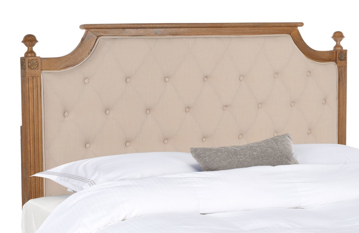Rustic Wood Beige Tufted Linen Headboard Headboards Furniture By Safavieh
