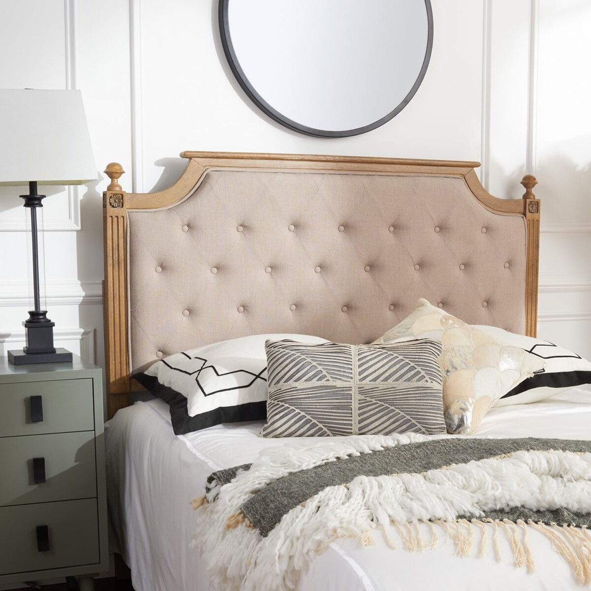 Rustic Wood Taupe Tufted Linen Headboard HEADBOARDS. Color: Taupe