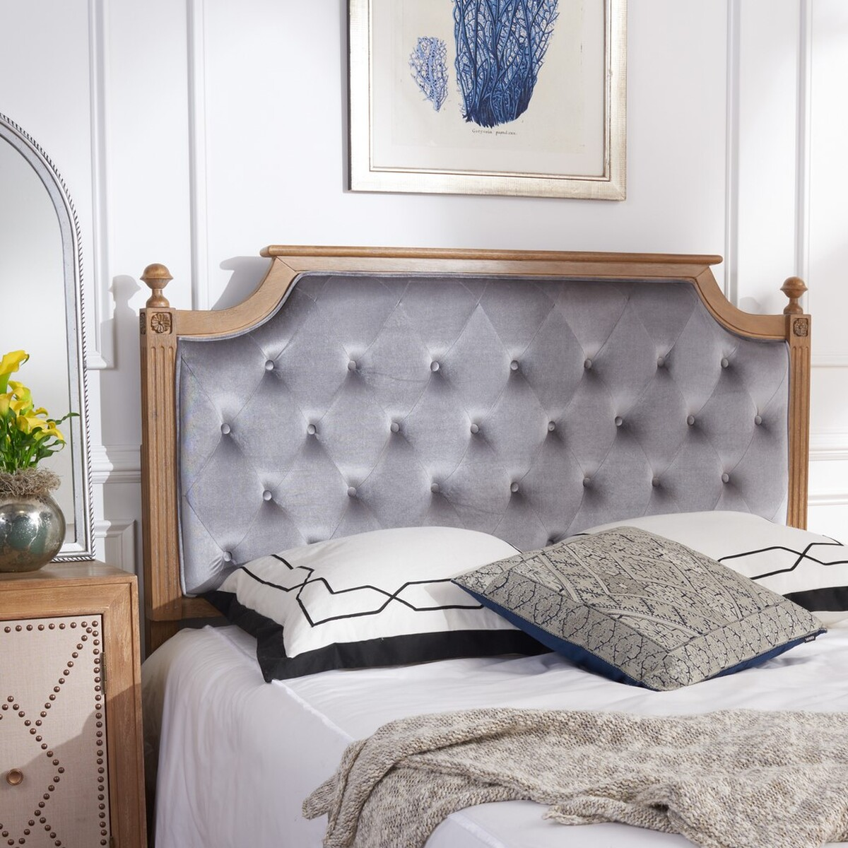 rustic wood grey tufted velvet headboard headboards furniture by safavieh. Black Bedroom Furniture Sets. Home Design Ideas