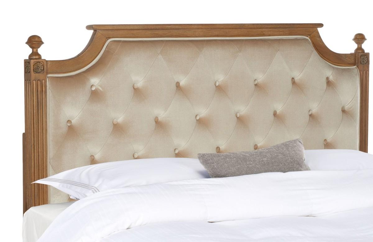 Rustic Wood Beige Tufted Velvet Headboard Headboards Furniture By Safavieh