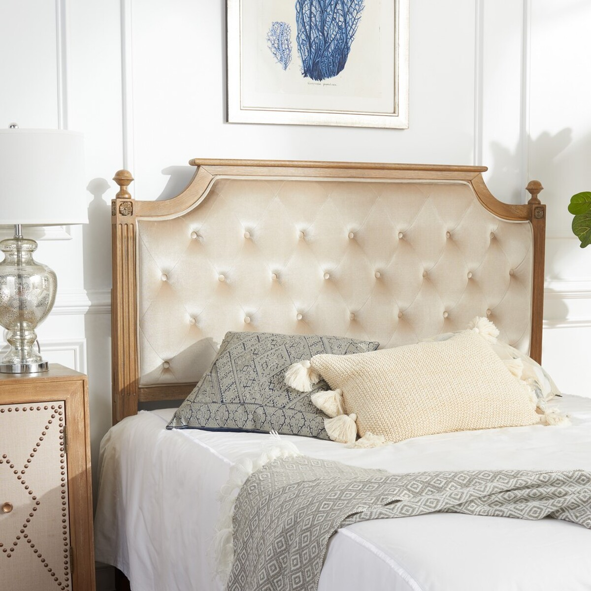 Tufted velvet headboard how to quickly easily make a for Make a twin headboard