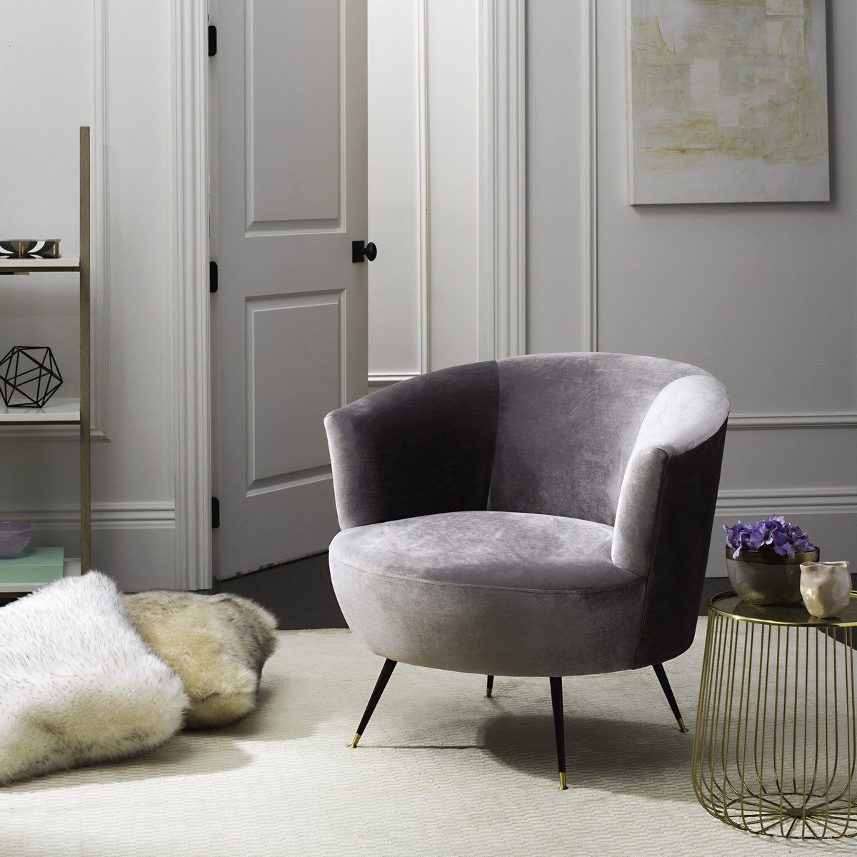 ARLETTE VELVET RETRO MID CENTURY ACCENT CHAIR FOX6257B ACCENT CHAIRS.  Color: Grey