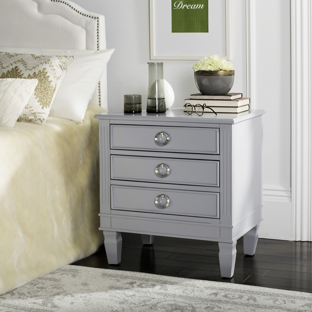 Marleny Three Drawer Night Stand By Signature Design By: Furniture By Safavieh