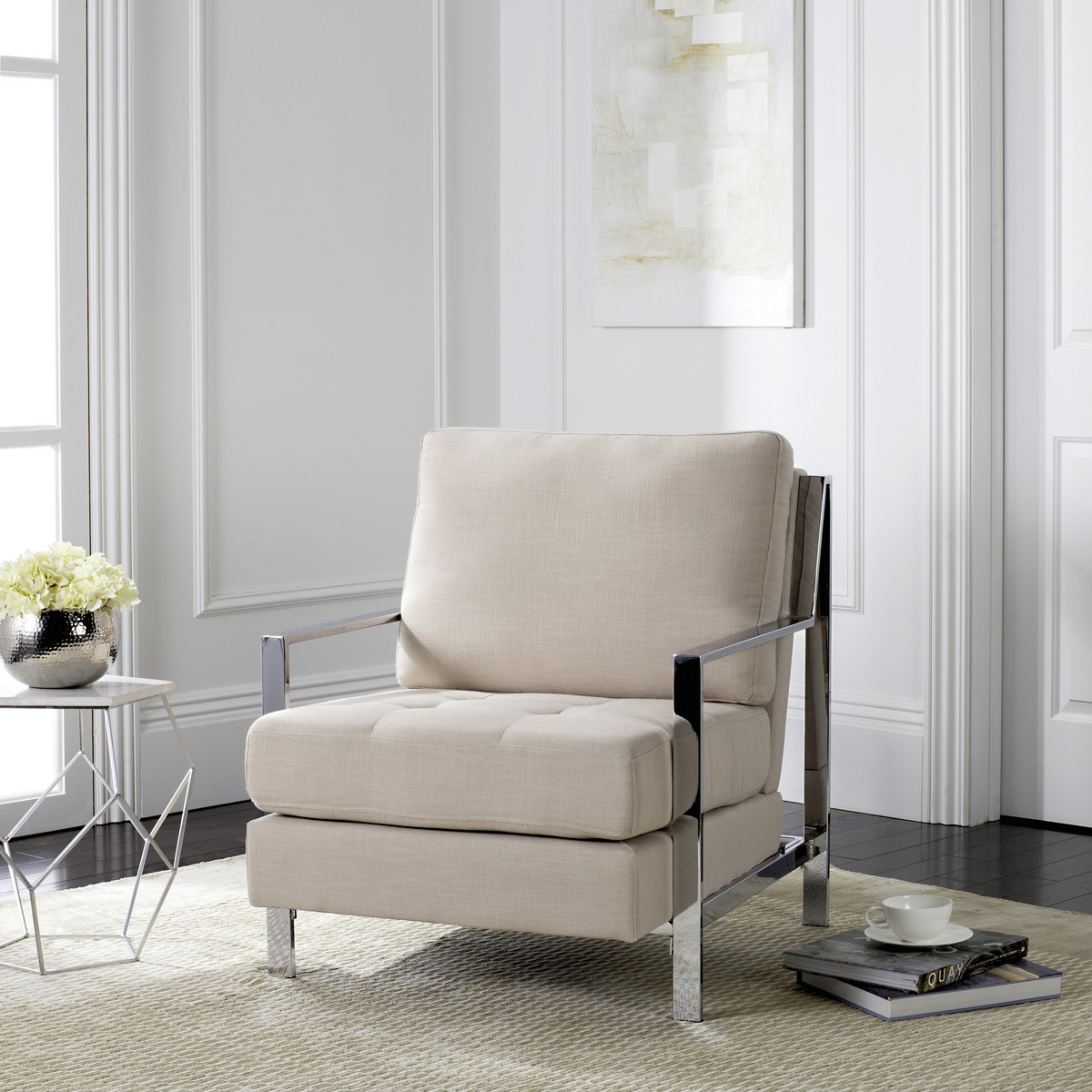 WALDEN MODERN TUFTED LINEN CHROME ACCENT CHAIR FOX6279A ACCENT CHAIRS & FOX6279A Accent Chairs - Furniture by Safavieh