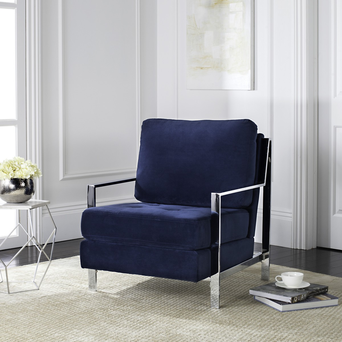 Navy blue velvet chair -  Sofa Chair Was Inspired By The Cosmopolitan Home Of London S Hottest Actor The Clean Lines Of Its Shimmering Metallic Frame Are Paired With Navy Velvet