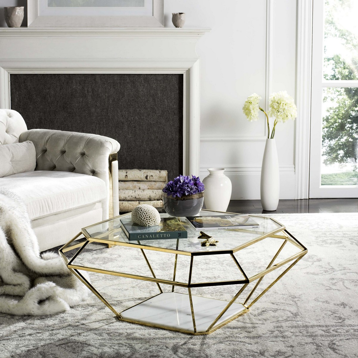 Contemporary Geometric Marble Metal Coffee Table Safavieh