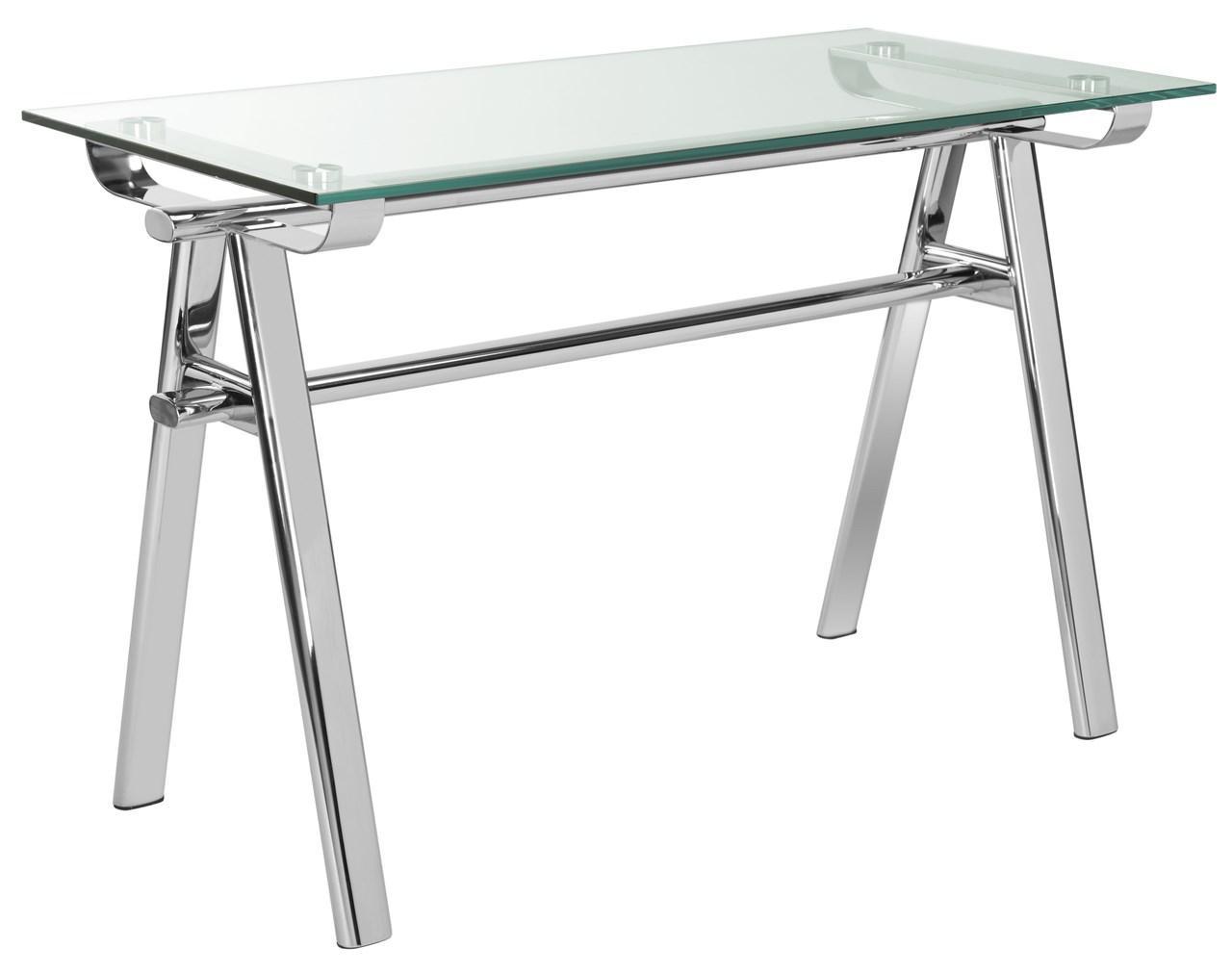 Elza Glass Top Metal Desk Fox9078a Color Silver