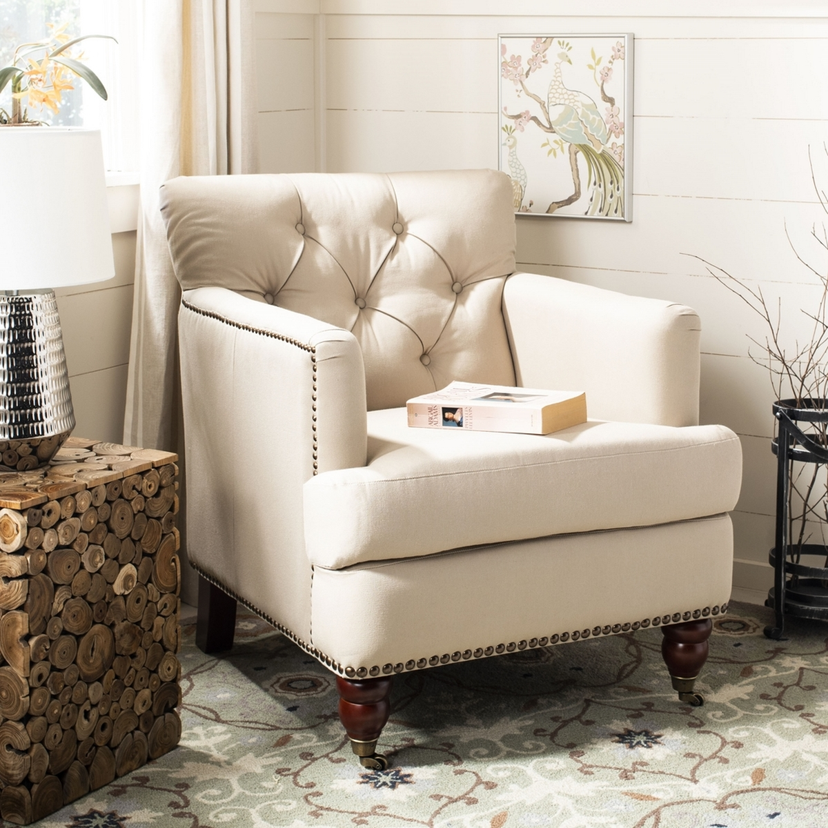 Captivating Colin Tufted Club Chair HUD8212B