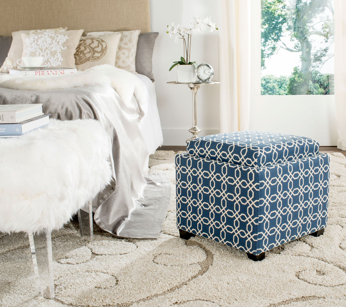 Hud8233t Ottomans Furniture By Safavieh