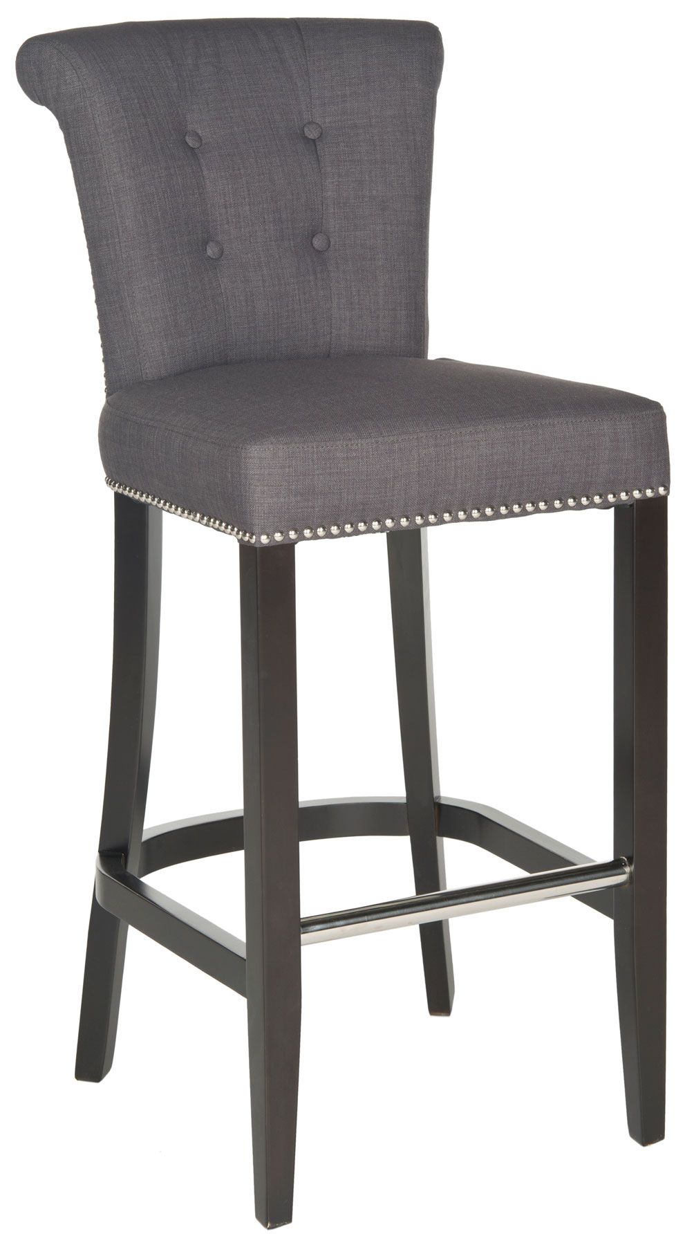 dressed up with silver nail heads foot rest and a clever metal ring on its back the addo ring bar stool is shown in charcoal linenweave poly fabric with