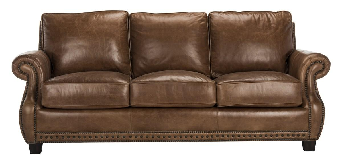 Traditional Top Grain Leather Nailhead Sofa Safavieh Com