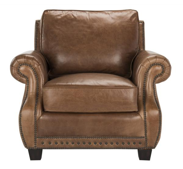 Traditional Top Grain Leather Nailhead Armchair- Safavieh.com