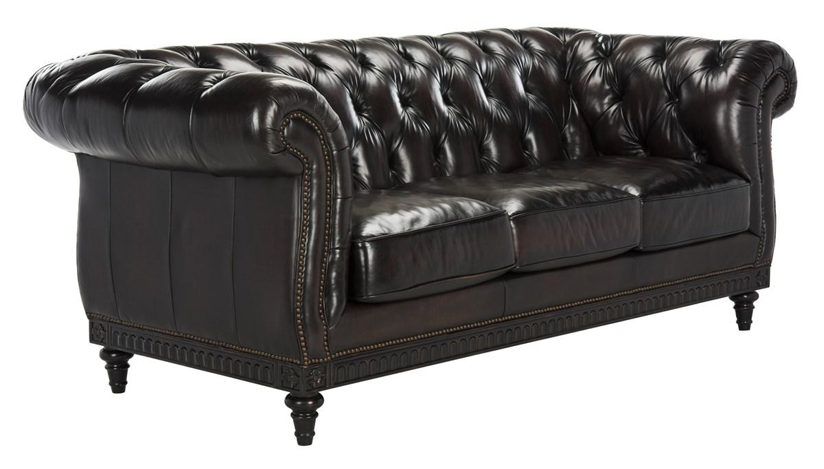 Classic Tufted Leather Nailhead Sofa Safavieh Com