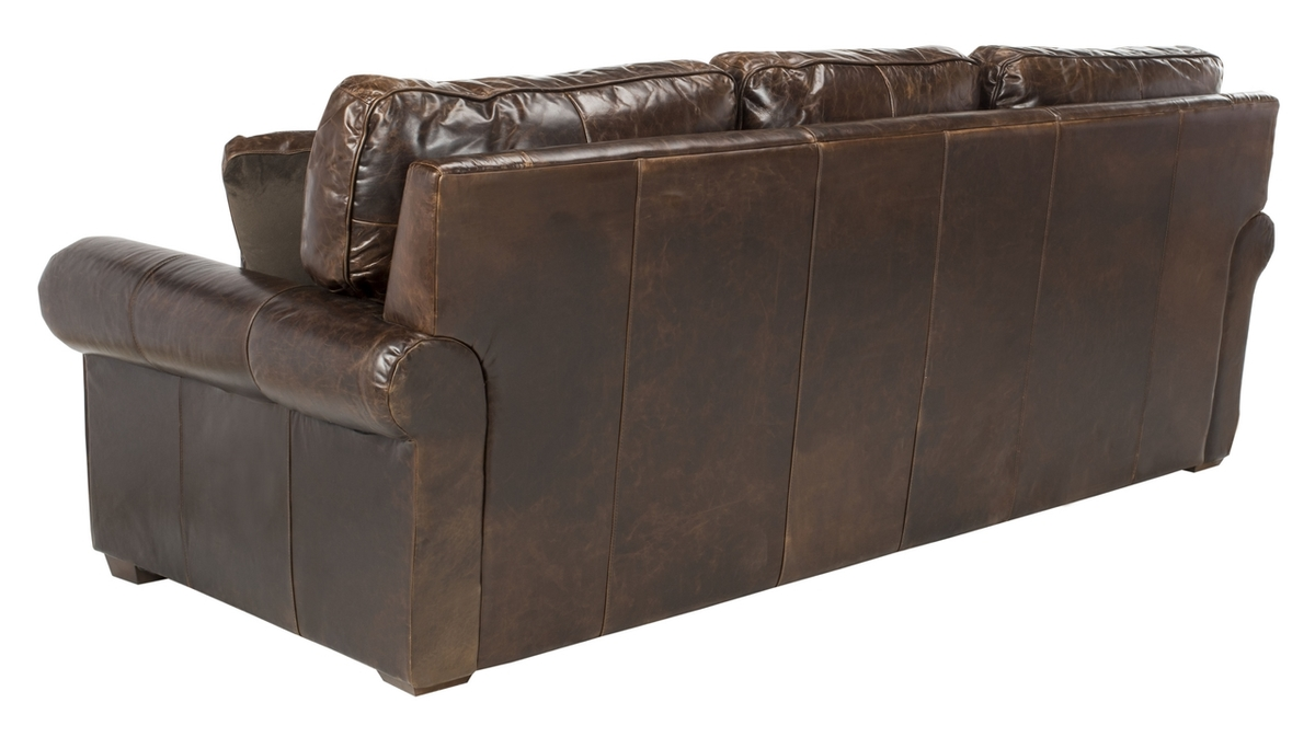 Traditional Top Grain Leather Distressed Sofa Safavieh Com