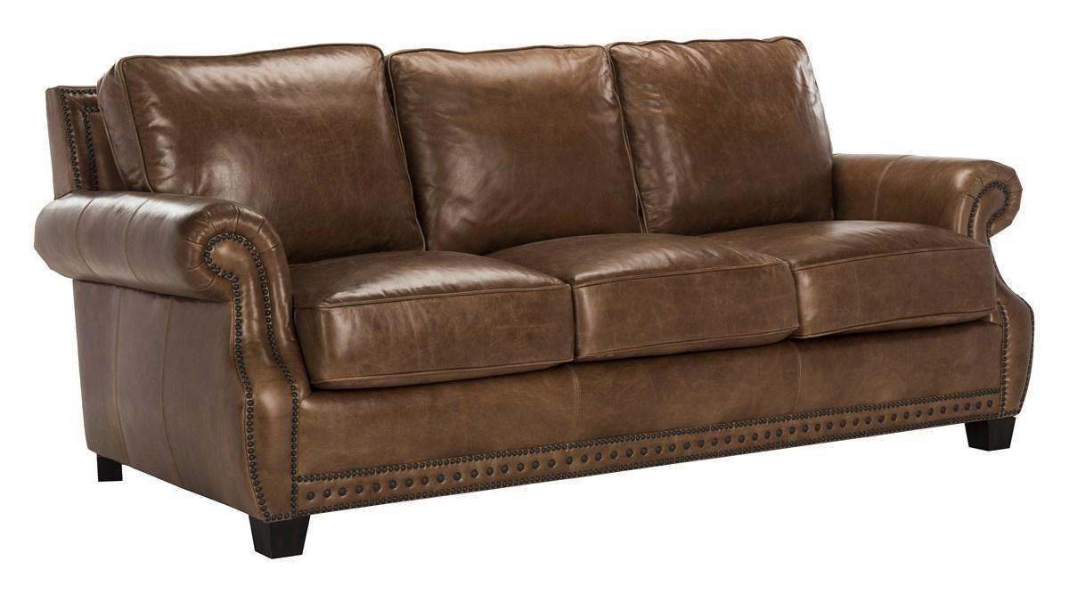 Traditional Top Grain Leather Nailhead Sofa - Safavieh.com