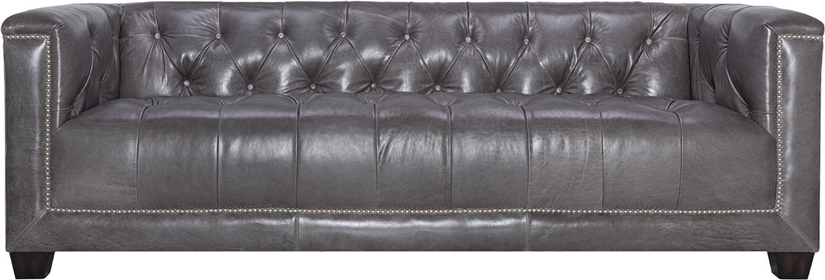 Donovan Tufted Leather Sofa Knt4048a Safavieh Couture Color Grey