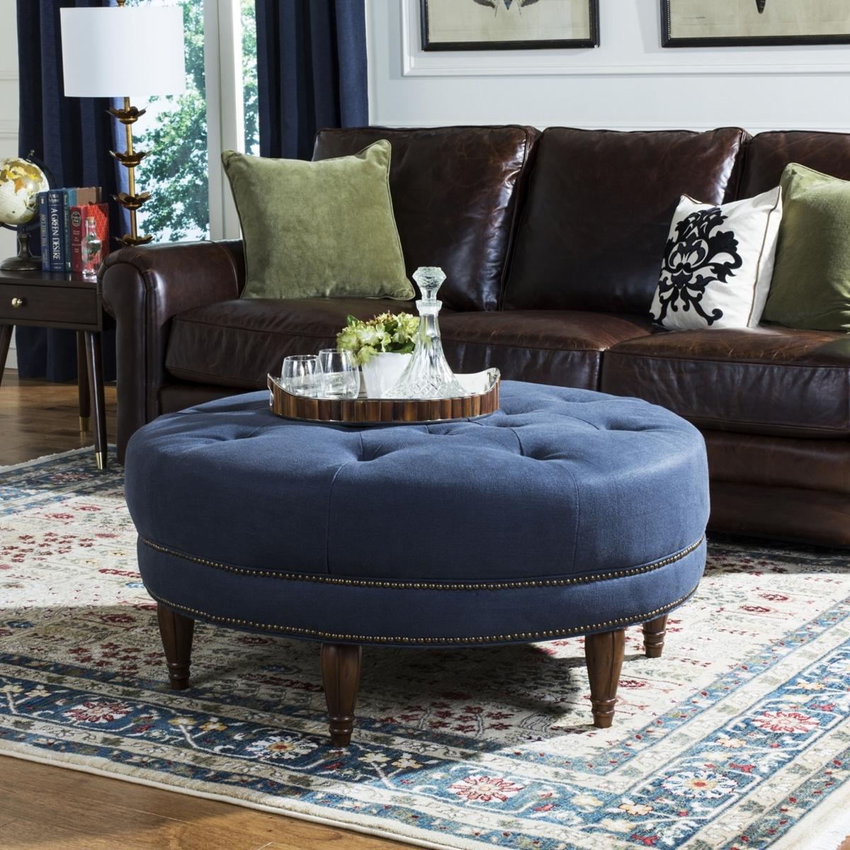 Wondrous Tufted Upholstered Nailhead Round Ottoman Safavieh Com Alphanode Cool Chair Designs And Ideas Alphanodeonline