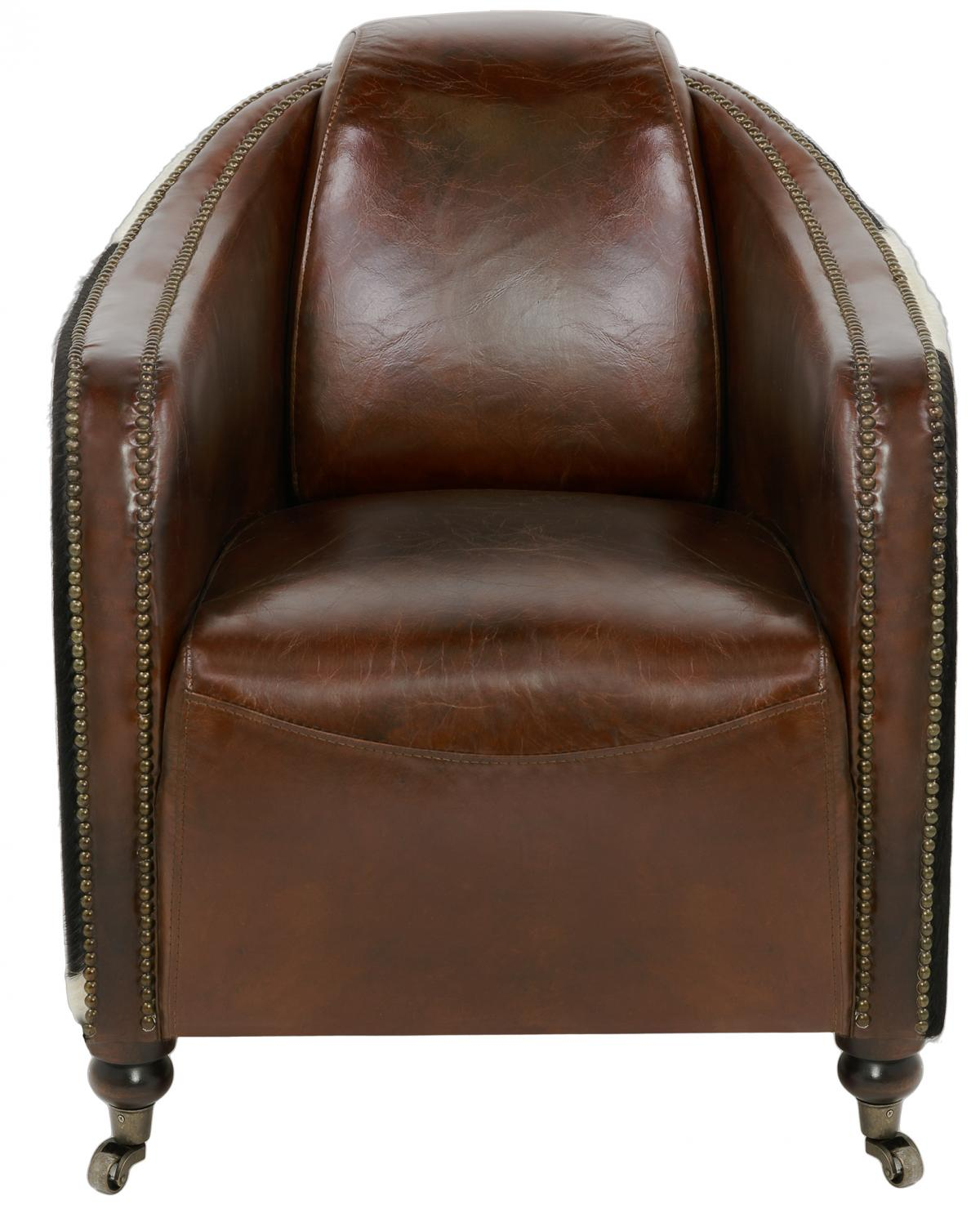 With Insets Of Pony Hide Complementing Top Grain Leather Upholstery In  Vintage Cigar Brown, Fullham Is Accented With Brass Nailhead Trim.