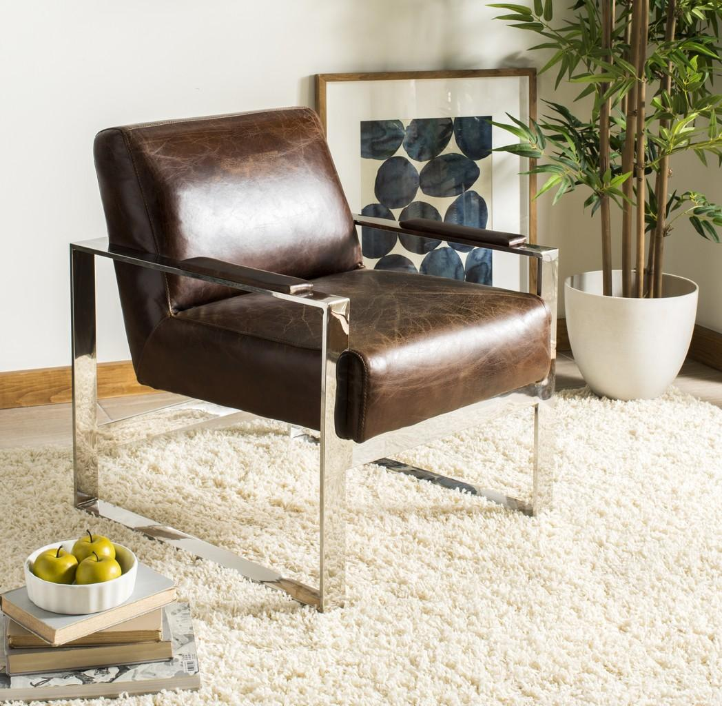 Mid Century Modern Leather Metal Accent Chair Safavieh Com