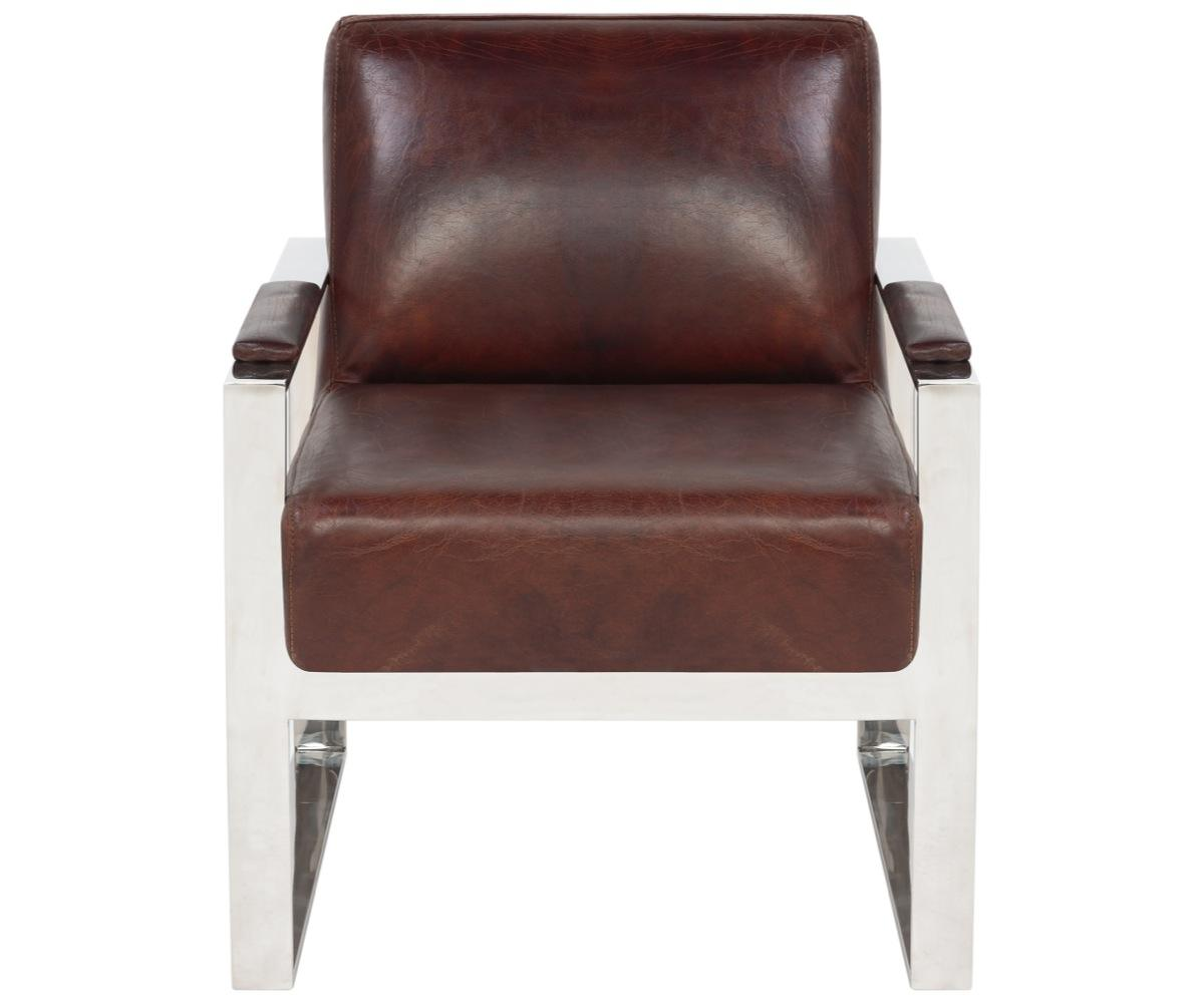 Leather And Metal Accent Chair: Mid-Century Modern Leather Metal Accent Chair
