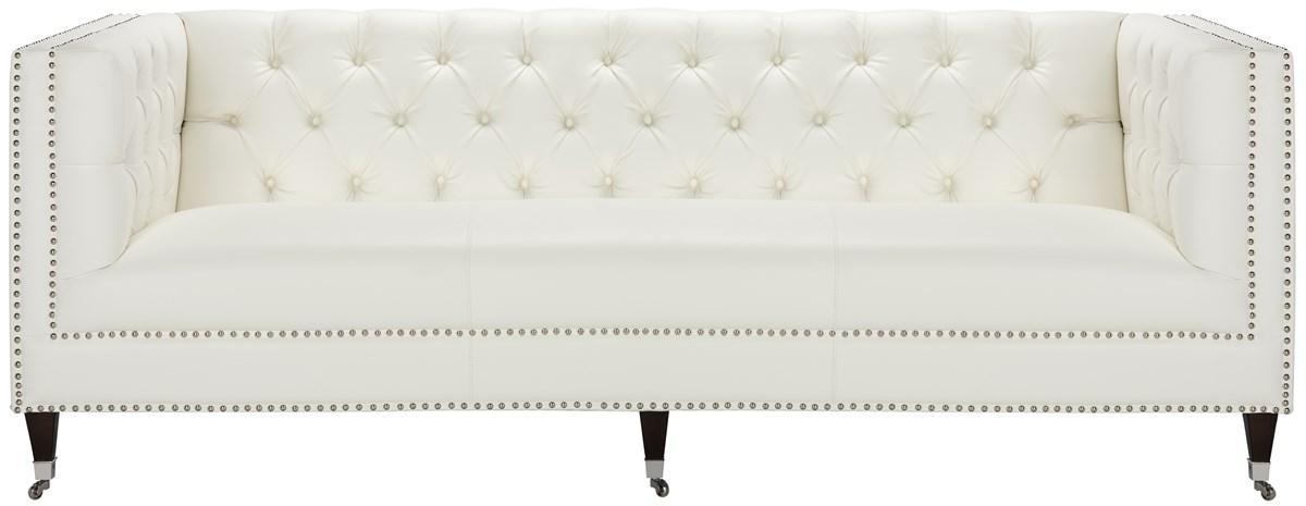 tufted white leather sofa