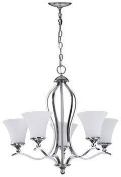 CELESTE 5 LIGHT CHROME 25.25 INCH DIA CHANDELIER Item: LIT4193A Color:  Etched White Shade And Chrome Lamp