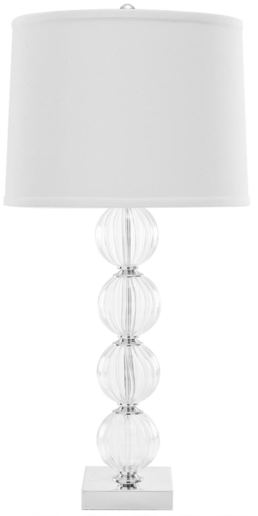 Lit4006c set2 table lamps lighting by safavieh updating an art deco classic the amanda lamp balances a stack of four fluted crystal balls atop a polished mirror finish metal base geotapseo Choice Image