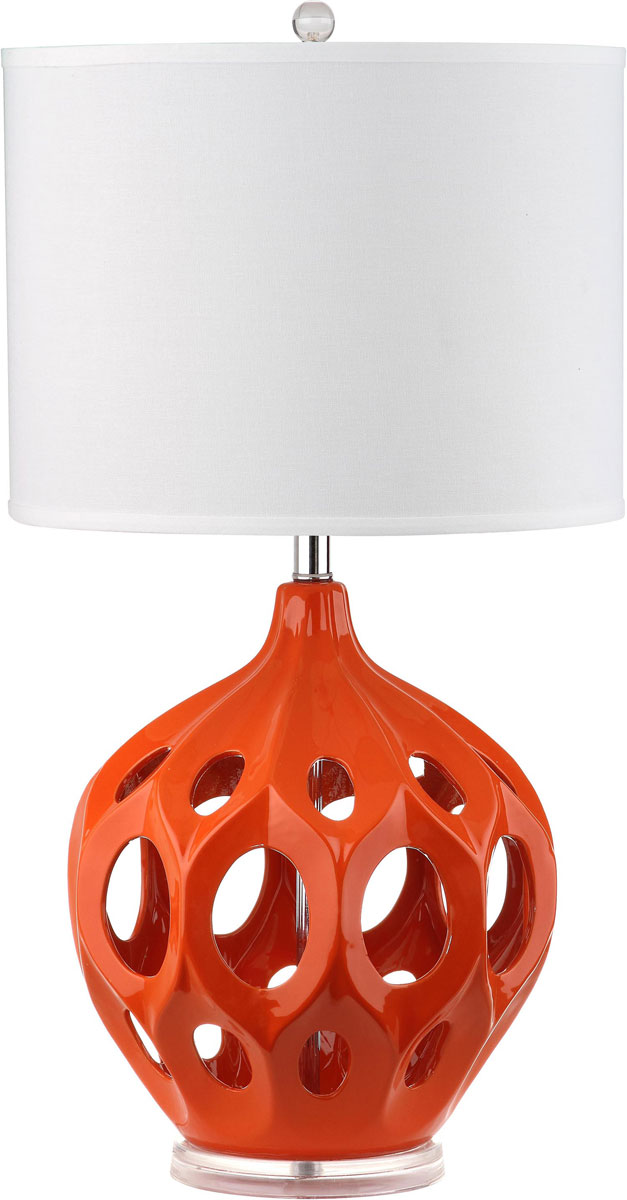 an intriguing sculptural design with open cutouts the bold orange regina ceramic table lamp by safavieh is a fresh take on the traditional gourd lamp
