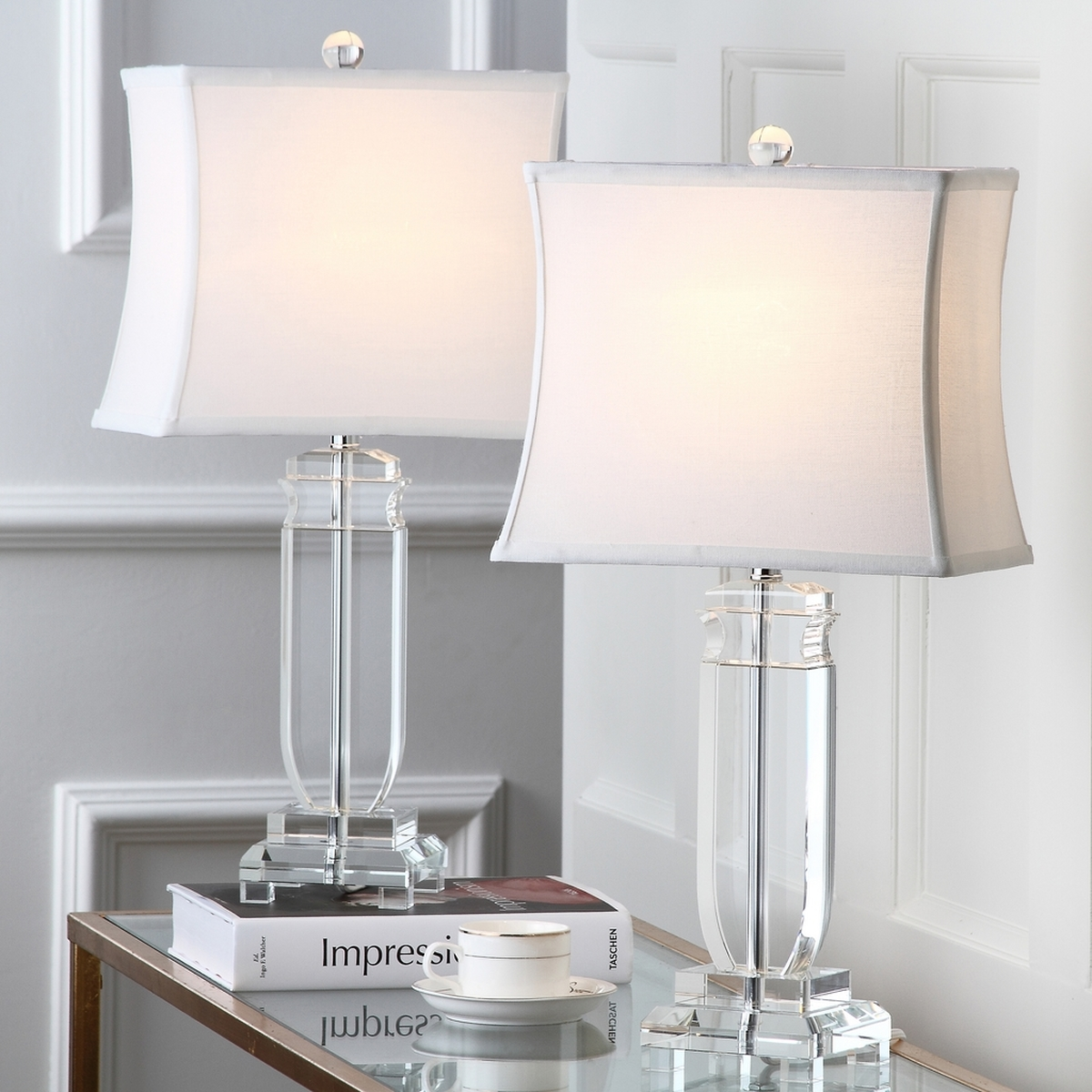 Romantic The Harp Shaped Crystal Base Of The Olympia: LIT4099A-SET2 Table Lamps