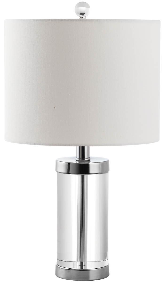 Lit4101a set2 table lamps lighting by safavieh the handsome laurie table lamp features silver base fittings and end caps enclosing a crystal cylinder in an elegant look that adapts to every style from geotapseo Choice Image