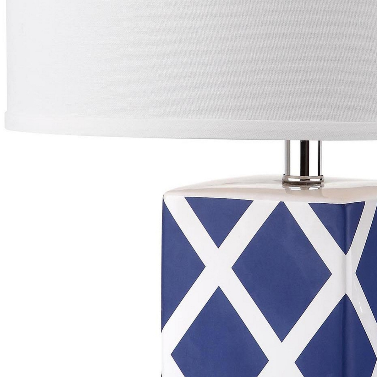625997124f1b ... Garden Lattice table lamp by Safavieh. Crafted of navy and white  ceramic with acrylic base and a silver neck, this graphic windowpane design  is topped ...