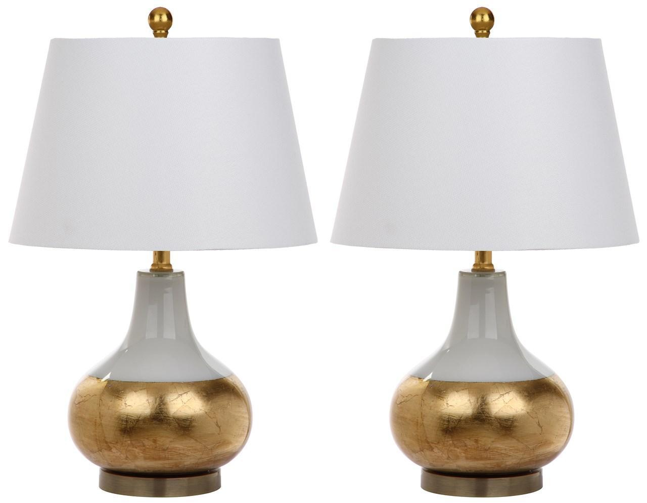 NOVA 23.5 INCH GLASS TABLE LAMP LIT4509A SET2. Lamp Color: White/gold