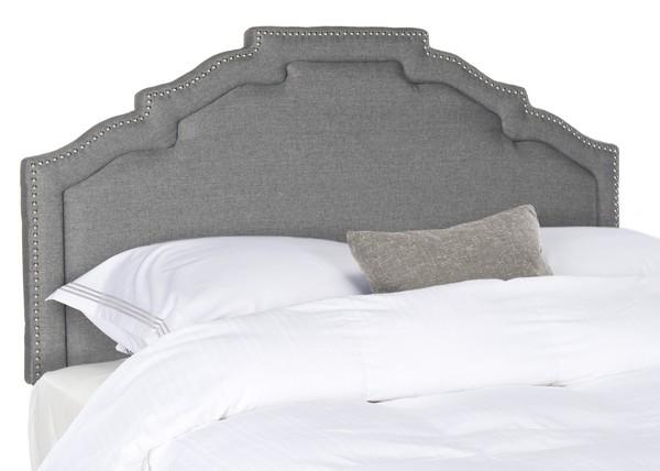 Alexia Grey Linen Headboard – Silver Nail Heads