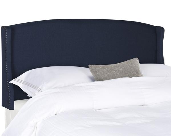 Austin Navy Winged Linen Headboard – Silver Nail Heads
