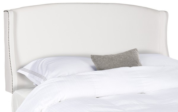 Austin Winged White Headboard – Silver Nail Heads