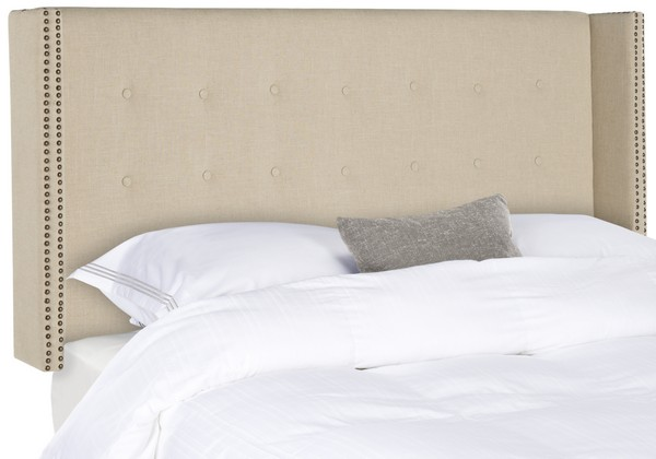Keegan Hemp Linen Winged Headboard – Brass Nailheads
