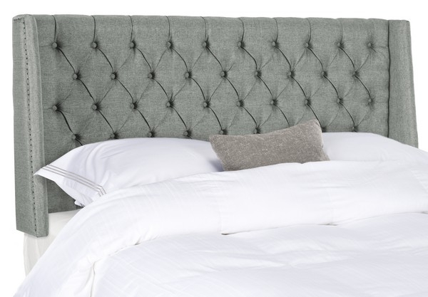 London Grey Linen Tufted Winged Headboard – Flat Nail Heads