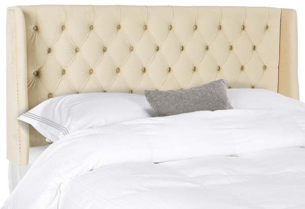 London Buckwheat Tufted Winged Headboard – Flat Nail Heads