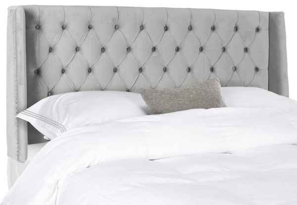 London Pewter Tufted Winged Headboard – Flat Nail Heads