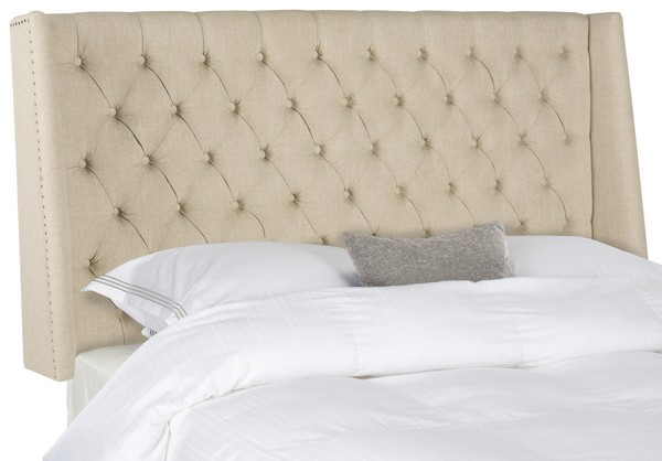London Hemp Linen Winged Headboard – Flat Nail Heads