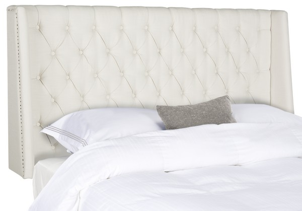 London Light Grey Tufted Winged Headboard – Flat Nail Heads