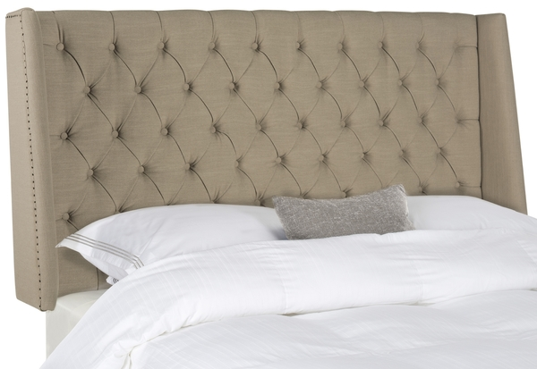 London Taupe Tufted Linen Headboard – Flat Nail Heads